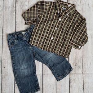💥2/$4💥 Plaid button down shirt w/jeans